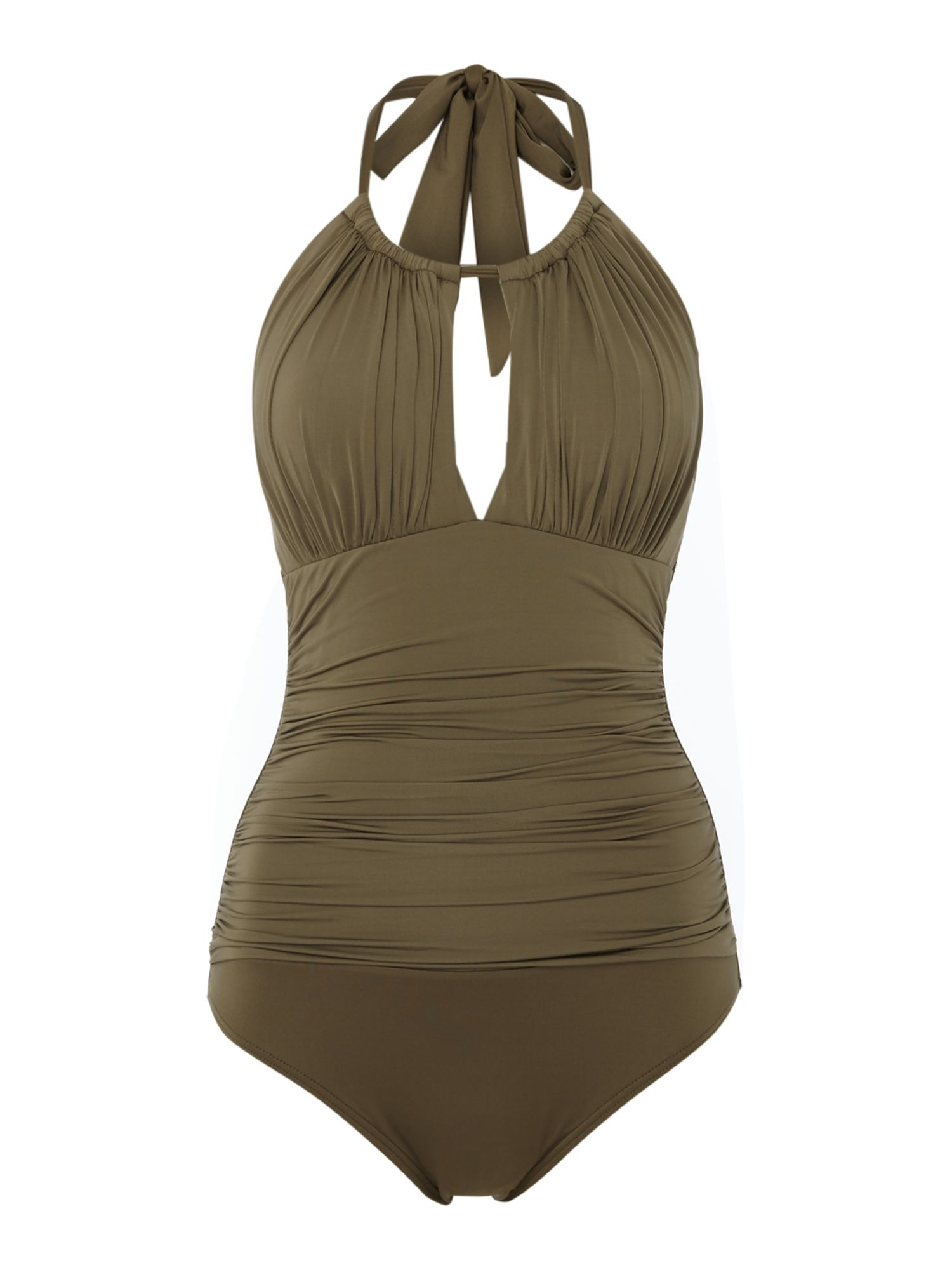 Kenneth Cole High neck tummy toner swimsuit Khaki