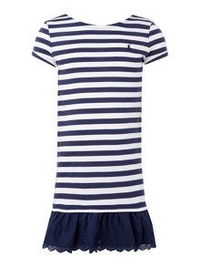Polo Ralph Lauren Girls Frill Hem Striped Dress