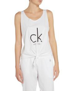 Calvin Klein Ck nyc logo knotted sports tank top