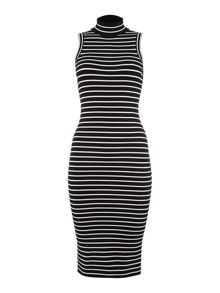 Michael Kors Sleeveless striped rib midi dress