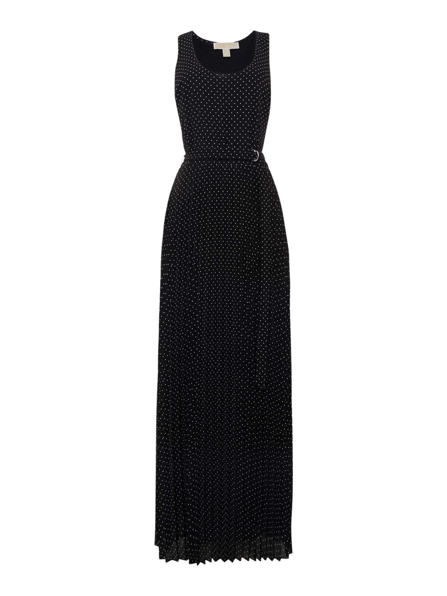 Michael Kors Sleeveless tiny dots tank maxi dress, Black