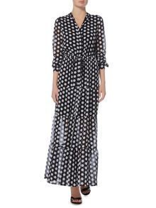 Michael Kors Longsleeve lottie dots maxi dress