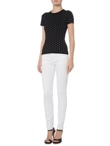 Michael Kors Shortsleeve stud crew neck top