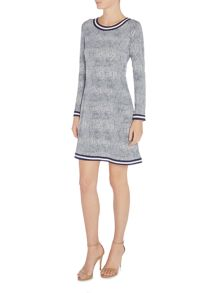Michael Kors Longsleeve polka dot shift dress with crew neck
