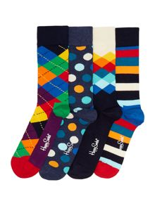 Happy Socks 4 Pack Assorted Pattern Socks