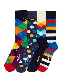 4 Pack Assorted Pattern Socks