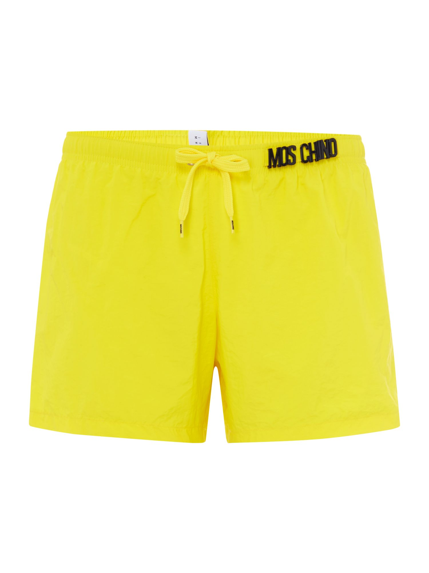 Men's Moschino All Over Logo Swim Shorts, Yellow