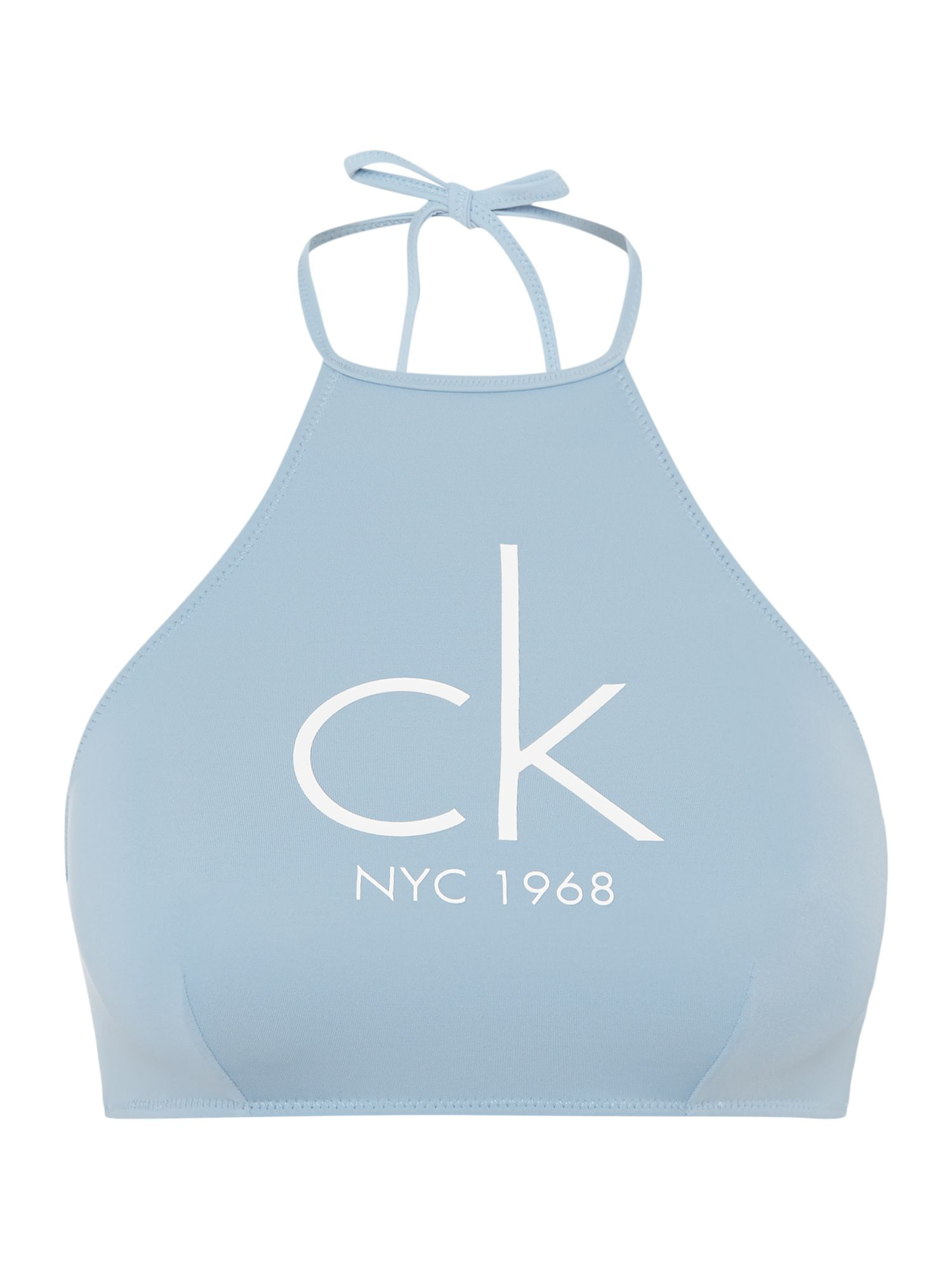 Calvin Klein Ck nyc high neck bikini crop top, Blue