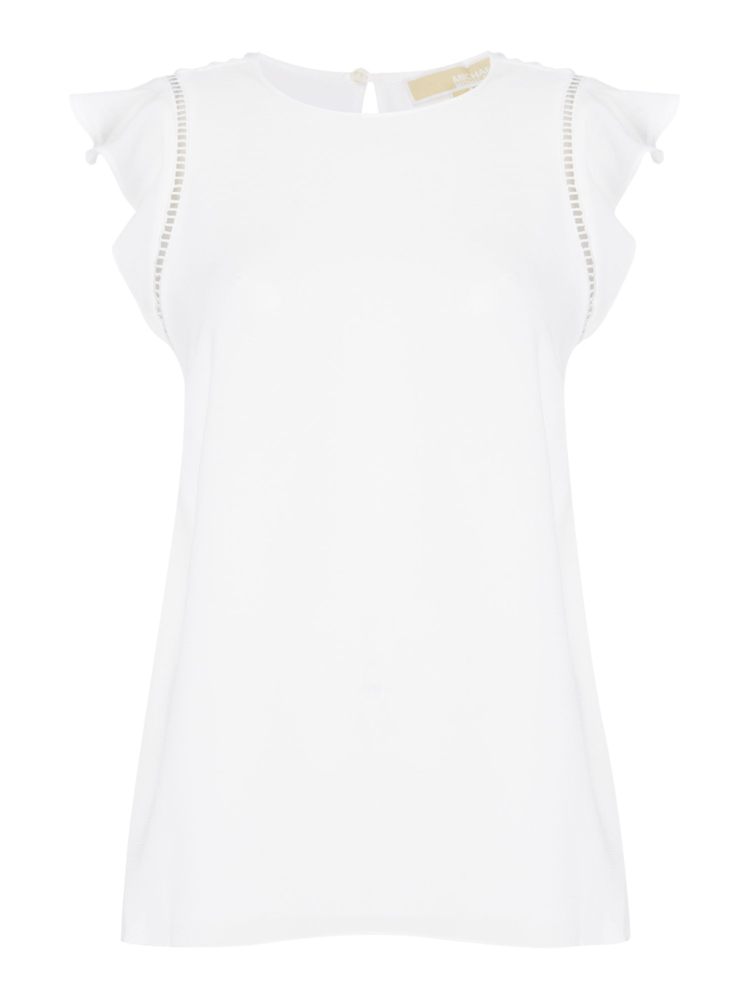 Michael Kors Crew neck cap sleeve mesh overlay top, White