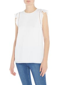 Michael Kors Crew neck cap sleeve mesh overlay top