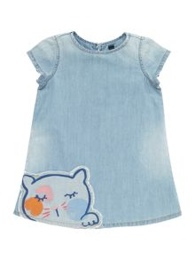 Benetton Girls Denim Cat Motif Short Sleeve Dress