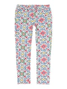 Benetton Girls Mosaic Print Button Waist Leggings