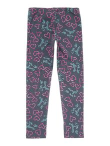 Benetton Girls Heart Print Leggings