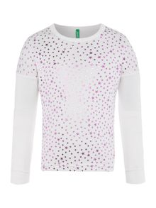 Benetton Girls Star Long Sleeve Knit Jumper