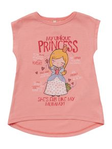 Benetton Girls Princess Graphic Short Sleeve T-Shirt