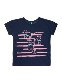 Benetton Girls Stripey Cats Short Sleeve T-Shirt