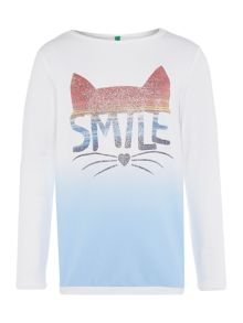 Benetton Girls Cat Face Long Sleeve T-Shirt