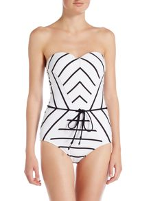 Seafolly Castaway stripe bandeau maillot swimsuit