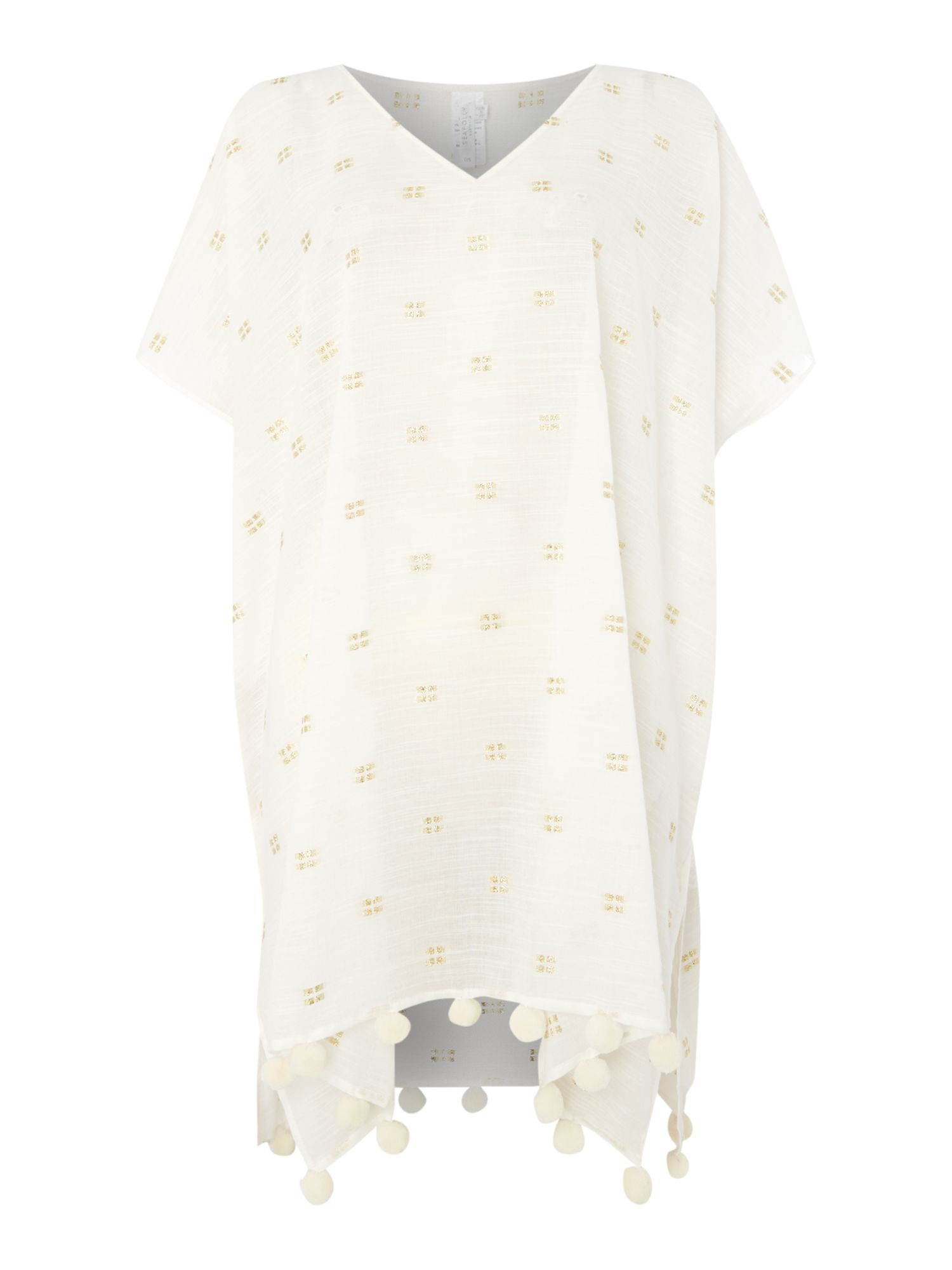 Seafolly Metallic jacquard beach kaftan, White