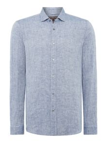 Michael Kors Slim fit yarn dyed linen look shirt