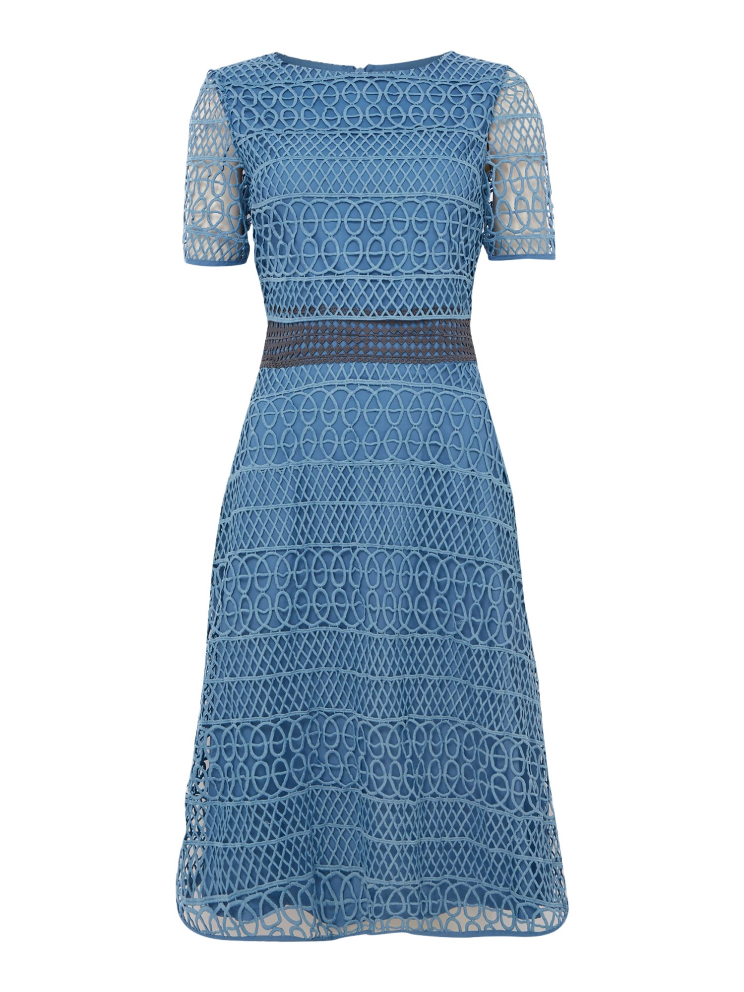 Twilight Rose Short sleeve textured lace fit and flare dress, Blue