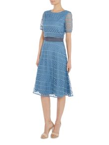 Twilight Rose Short sleeve textured lace fit and flare dress