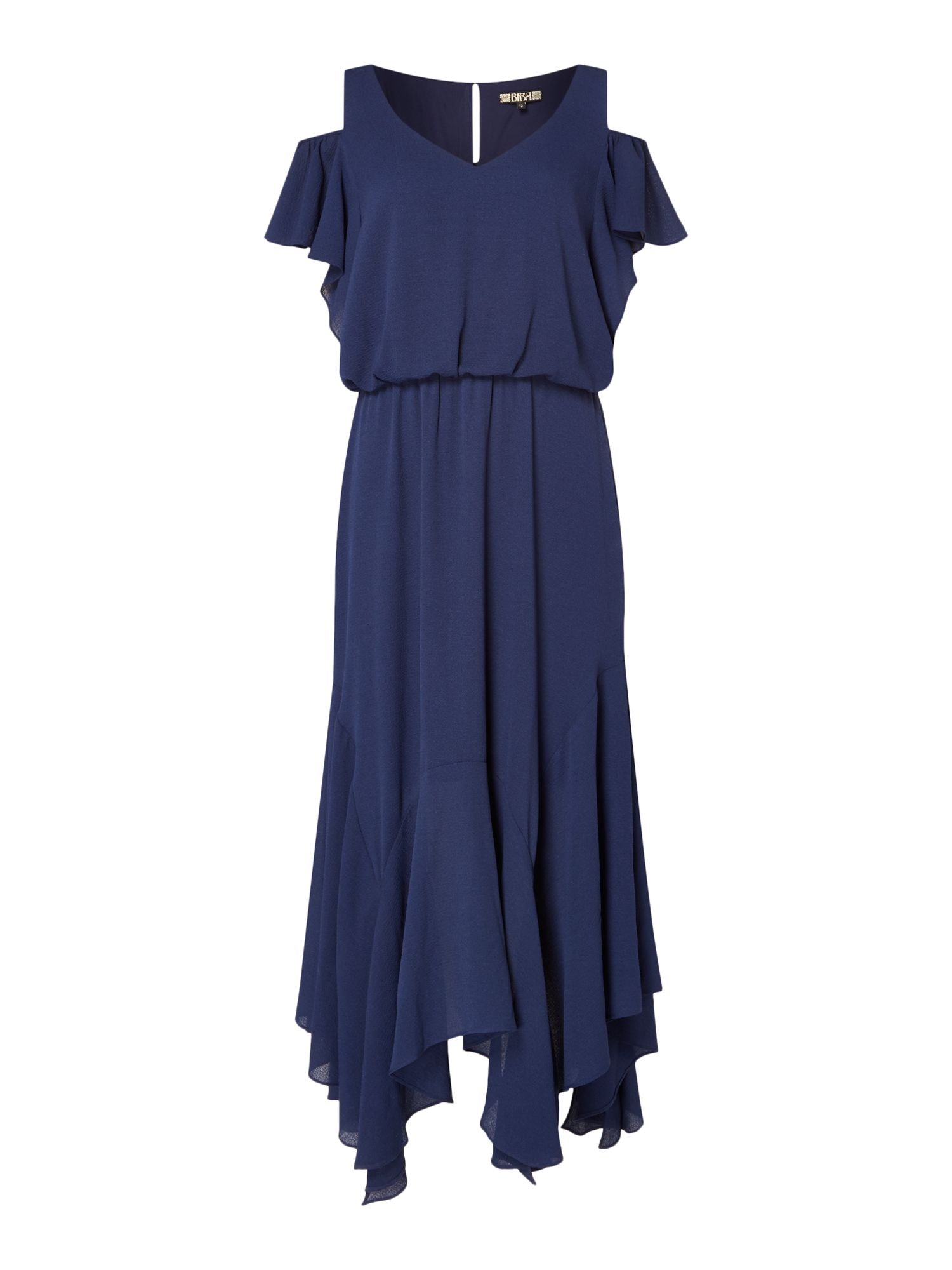 Biba Cold shoulder ruffle front midi dress, Blue