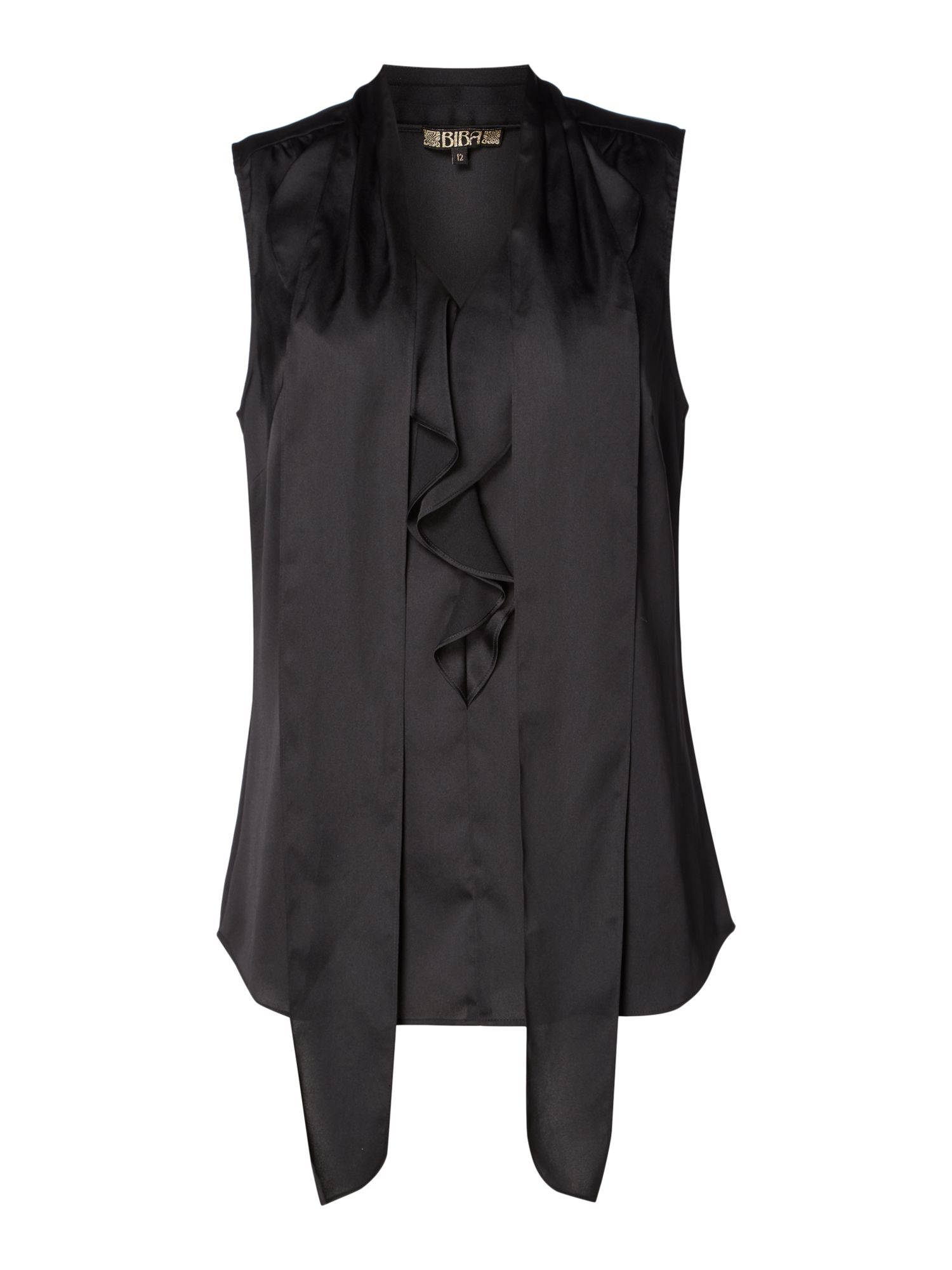 Biba Ruffle front sleeveless blouse, Black