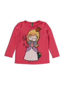 Benetton Girls Fairy Princess Long Sleeve Knit Jumper