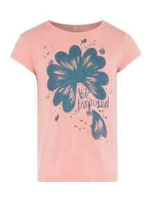 Benetton Girls Glitter Flower Short Sleeve T-Shirt