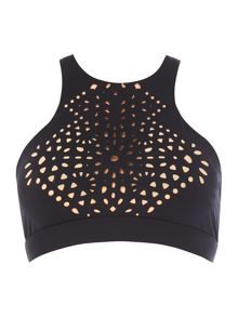 Seafolly Spice temple high neck sports crop top