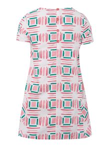 Benetton Girls Geometric Paint Short Sleeve Dress