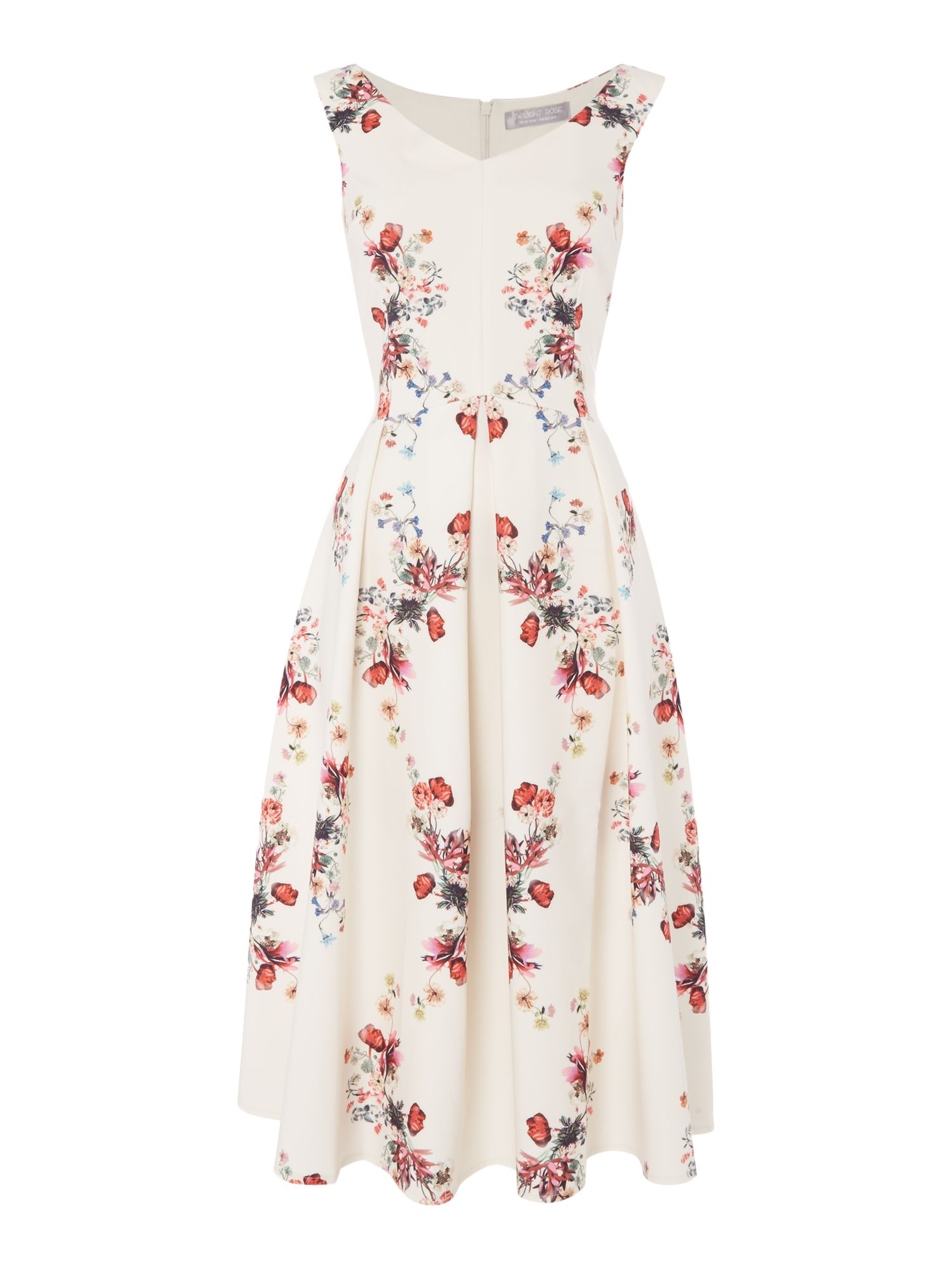 Twilight Rose sleeveless floral printed dress, Multi-Coloured