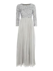 Lace and Beads Long Sleeve Maxi