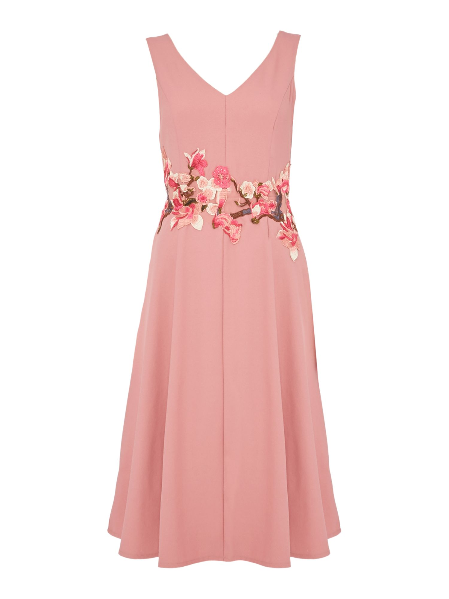 Twilight Rose Fit and flare fitted midi dress, Pink