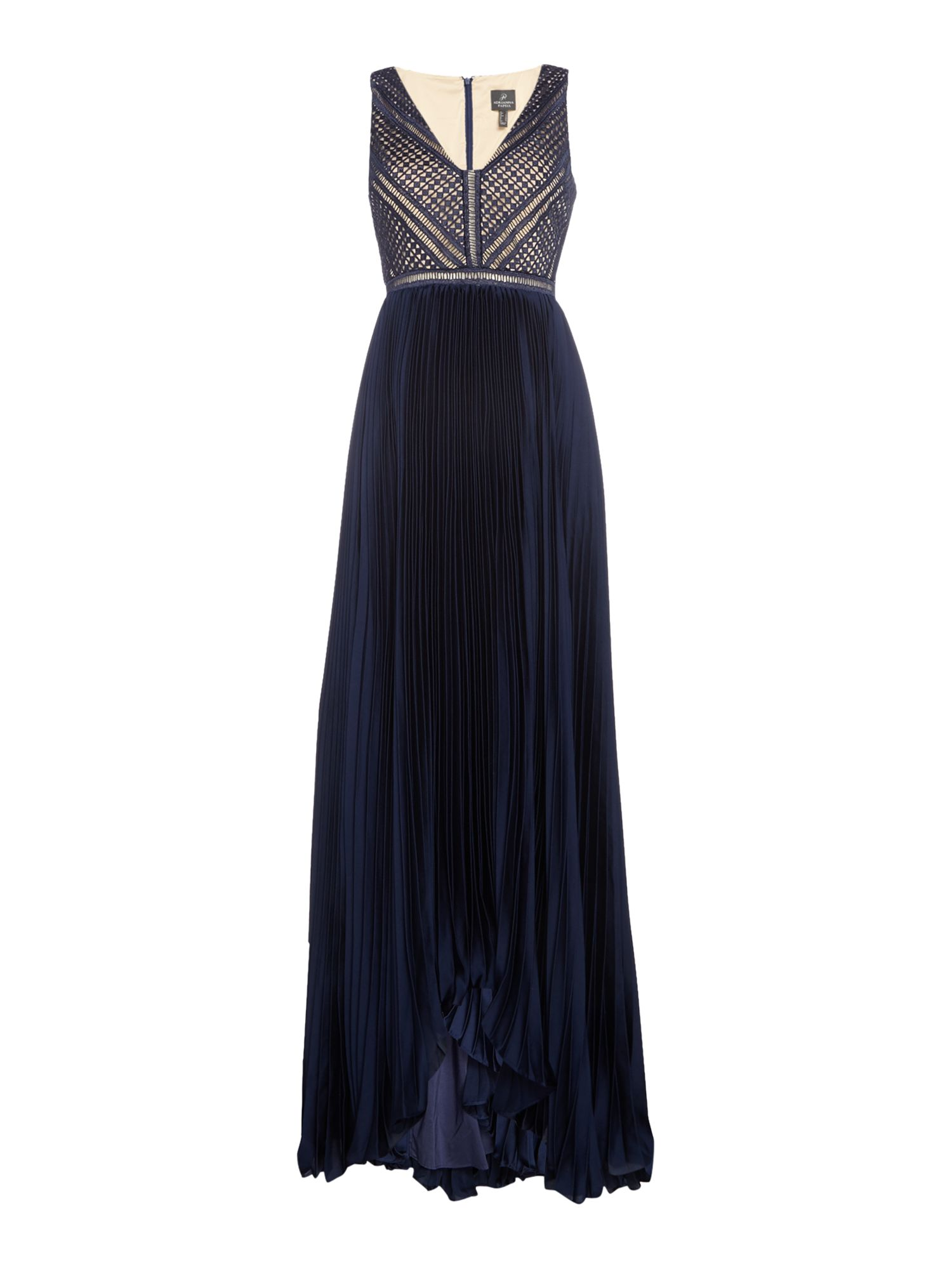 Adrianna Papell Pleated full length dress, Blue