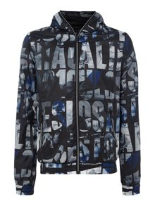Guess All-over printed zip-up hoodied jacket