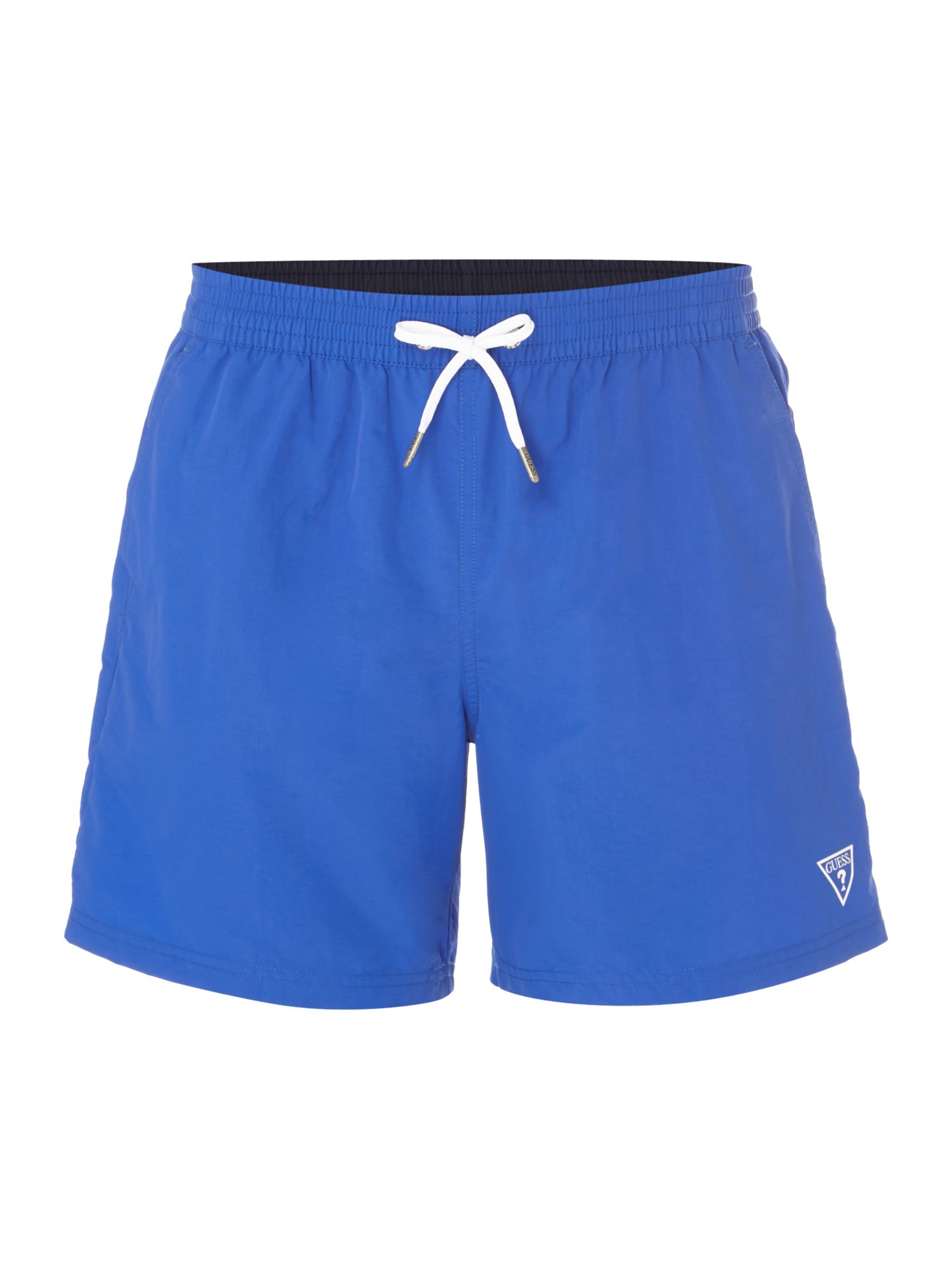 Men's Guess Mid Length Logo Swim Shorts, Blue