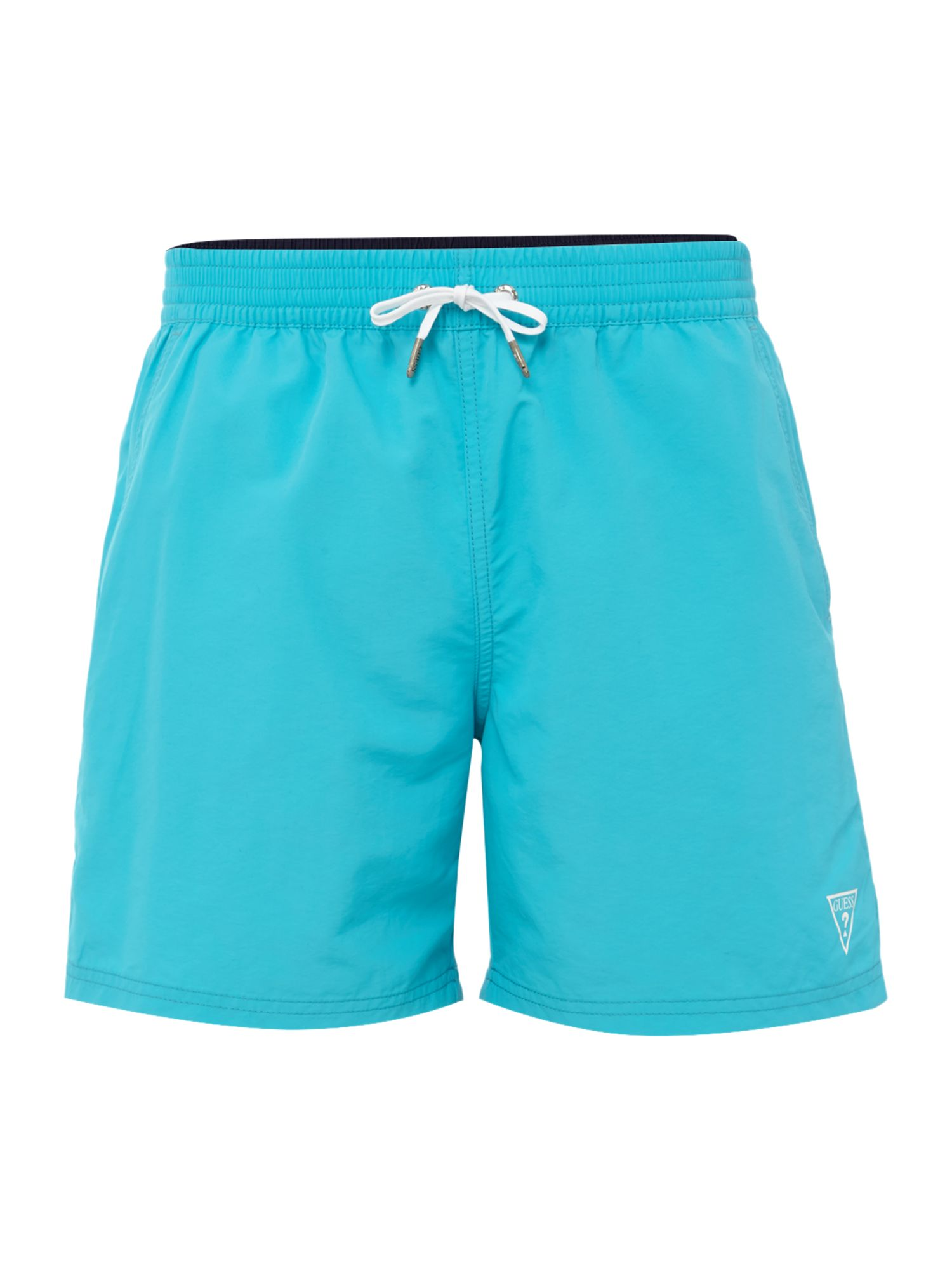 Men's Guess Mid Length Logo Swim Shorts, Turquoise