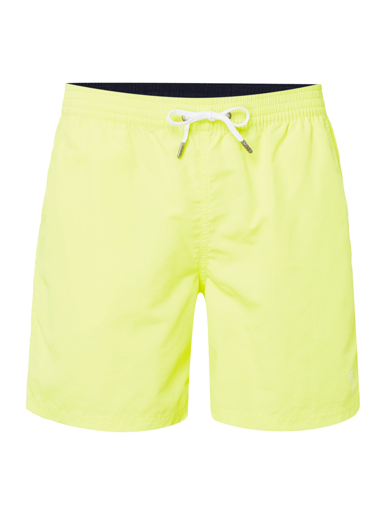 Men's Guess Mid Length Logo Swim Shorts, Yellow