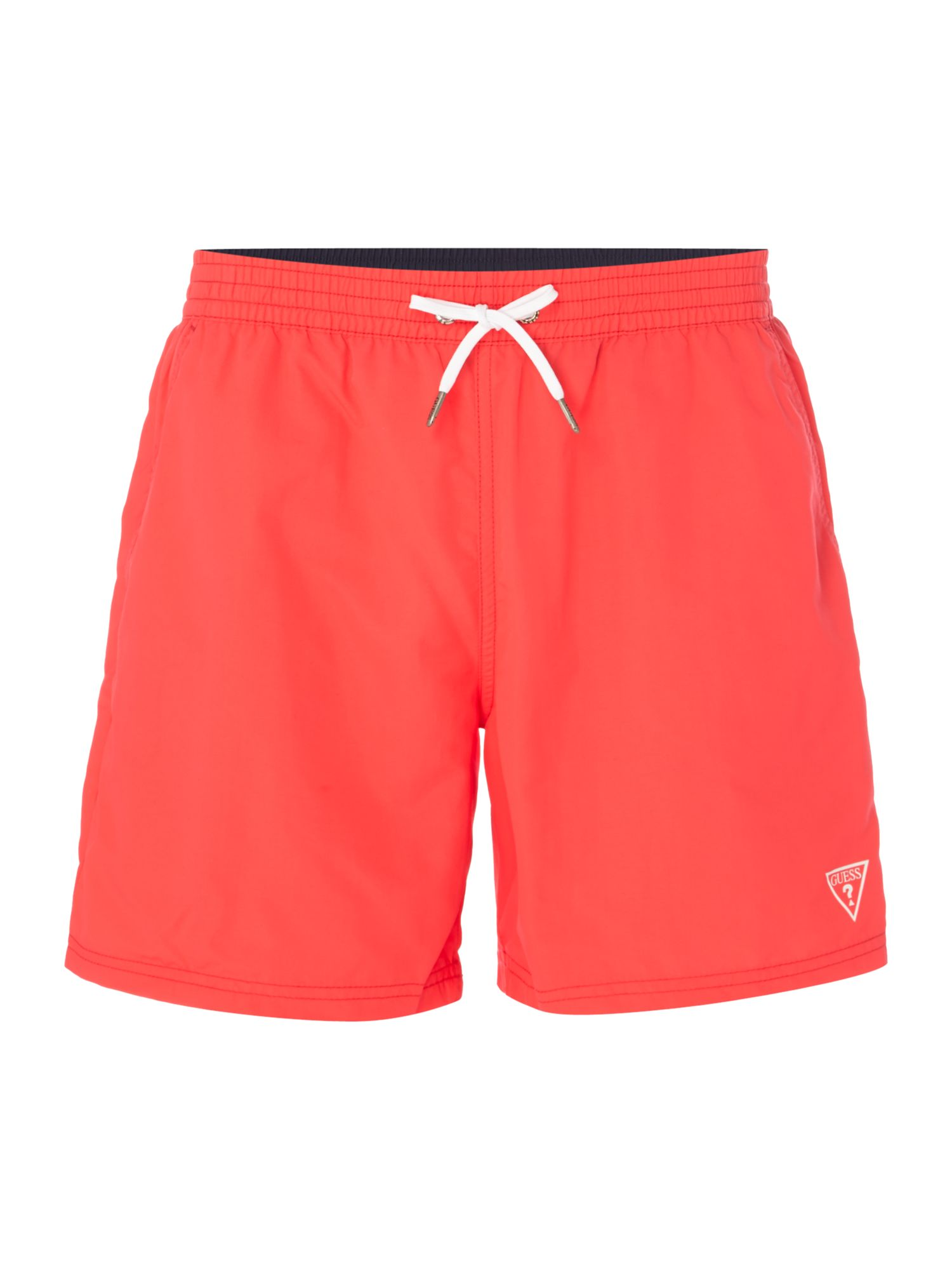 Men's Guess Mid Length Logo Swim Shorts, Pink