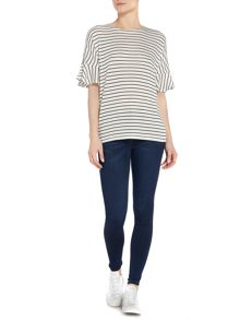 Vero Moda Nana peplum short sleeve striped top