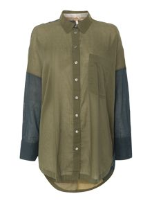 Free People Relaxed Fit Buttondown Shirt in army