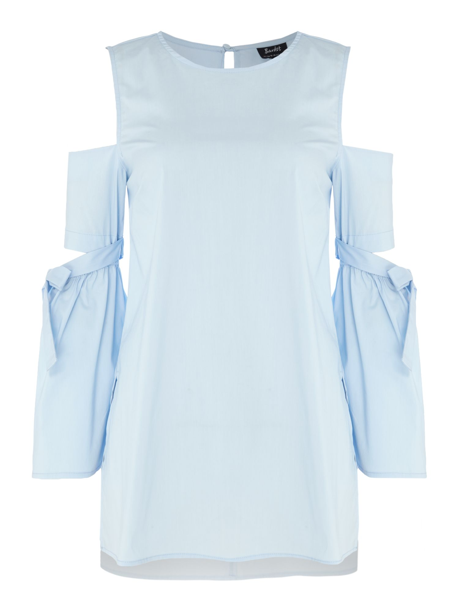 Bardot Alice Cold Shoulder high low hem tunic, Sky Blue
