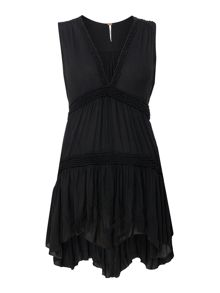 Free People Sleeveless Plunge Neck Tunic in black