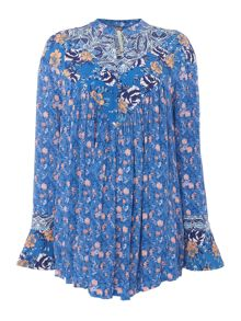 Free People Longsleeve Floaty Wildflower Print Dress in sky