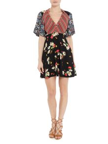 Free People Mix It Up Printed Longsleeve Mini Dress in black