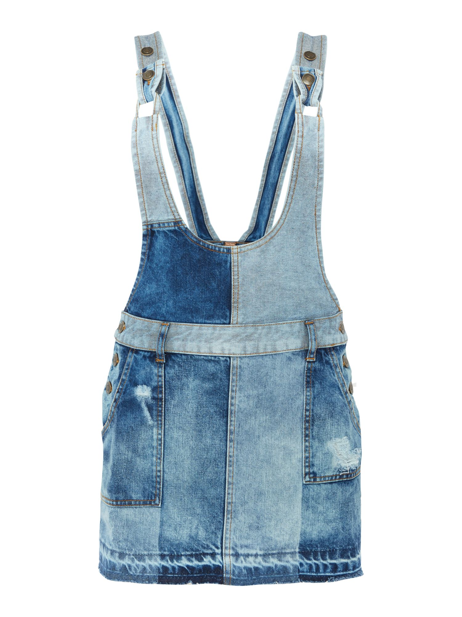 Free People Patchwork Dungaree Dress in denim light wash Denim Light Wash