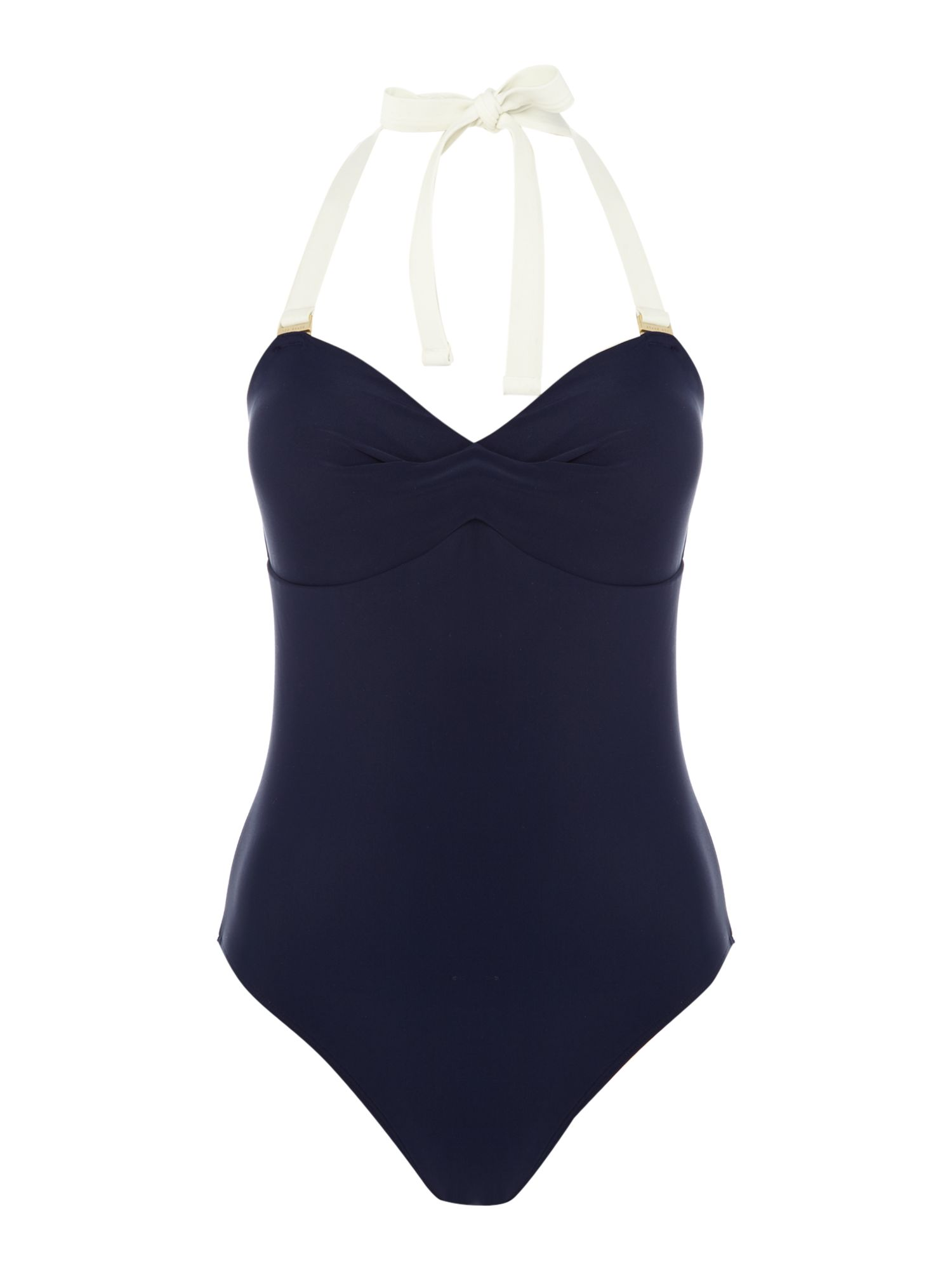 Ted Baker Colourblock bandeau swimsuit, Blue