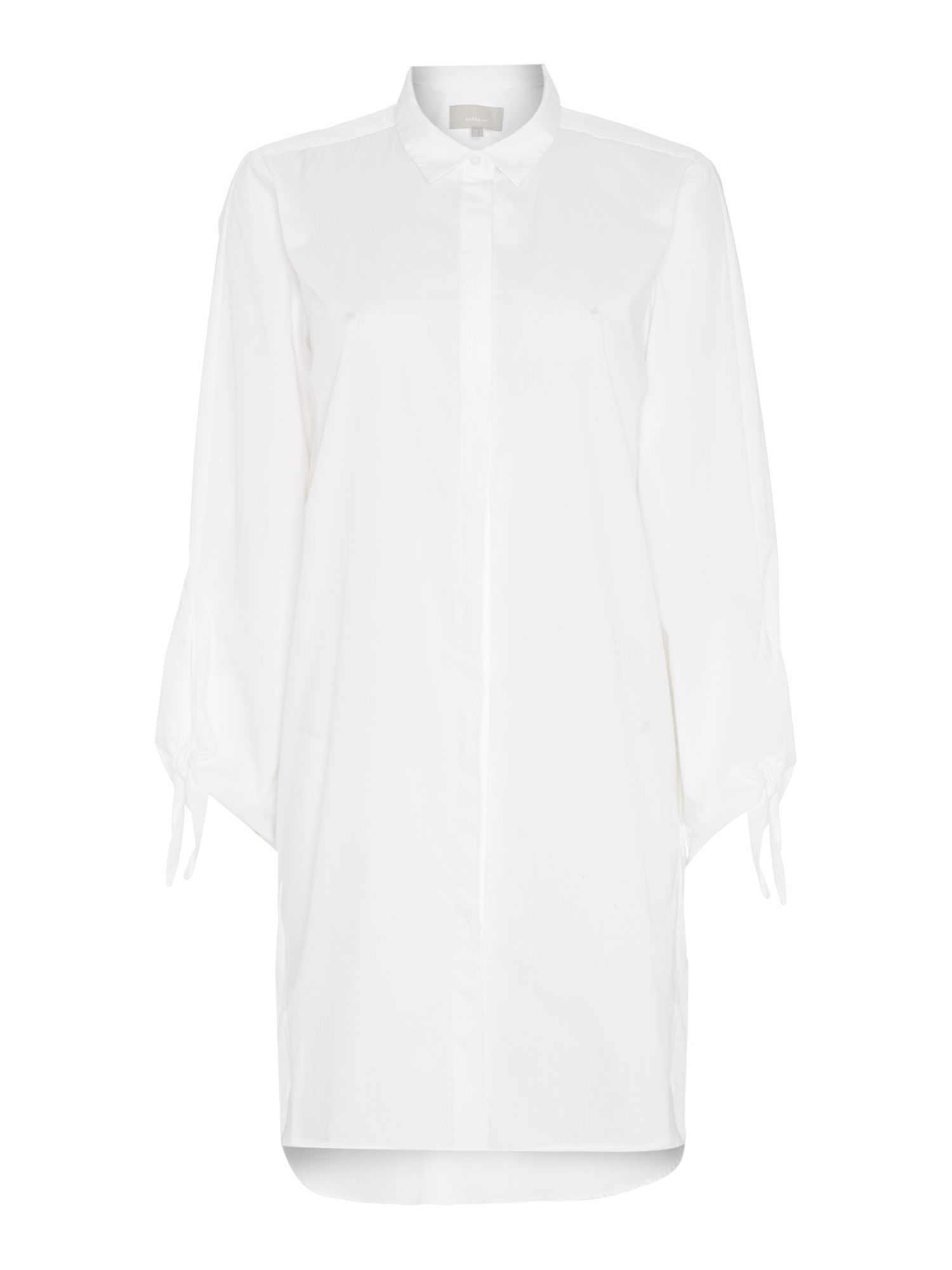 In Wear Long sleeve shirt with tie detail sleeve, White